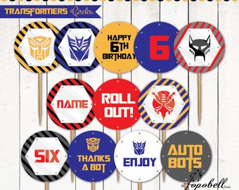 """Transformers Cupcake Toppers for Transformers Birthday Party.  In 12 designs! Transformers party circles. 2"""" circles size. Personalized."""