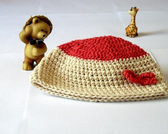 beige baby beanie in beige and pink size 3-6 months with bow for girls