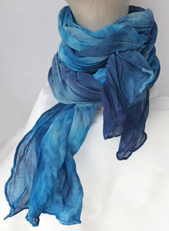 """Blue chiffon crinkle scarf - silk chiffon scarf - large scarf - blueberry, peacock blue, turquoise - LARGE - 17""""x74""""- hand dyed to order"""