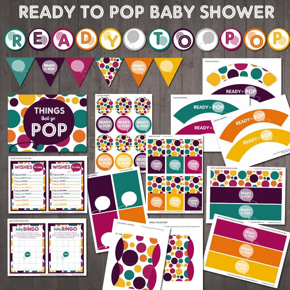 ready to pop baby shower party supplies printable ready to