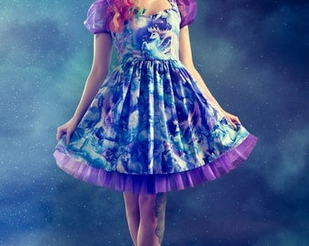 Fantasy Unicorns Pegasus Dress Galaxy Print Purple Blue Pastel Goth Magic