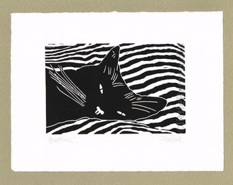 Black Cat Sleeping - Linocut. Original hand pulled Relief Print