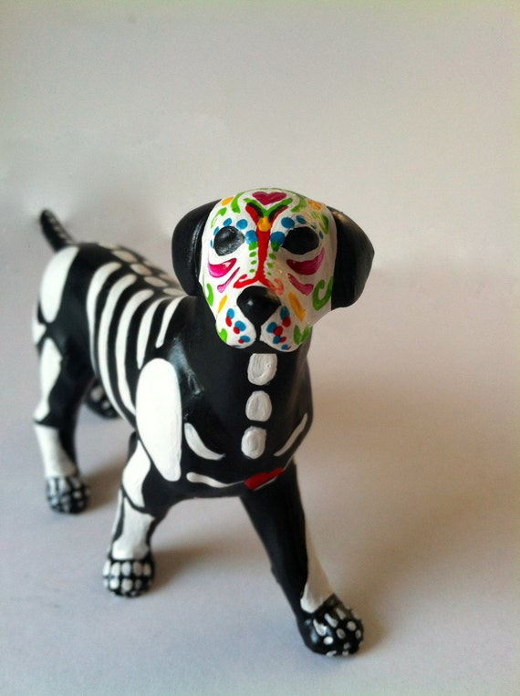 Day of the Dead Sugar Skull Pit Bull Dog Ceramic Sculpture dia de los muertos dog pet memorial