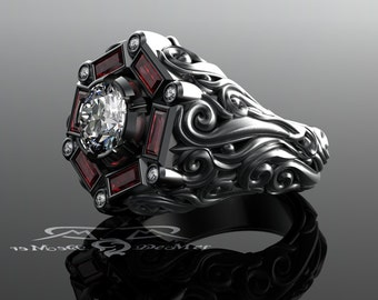 mens 2ct diamond 133ct ruby cocktail or engagement ring mangagement 18kt grey - R2d2 Wedding Ring