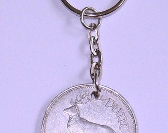 1994 Irish Punt Coin Keyring Key Chain Fob 23rd Birthday Red Deer
