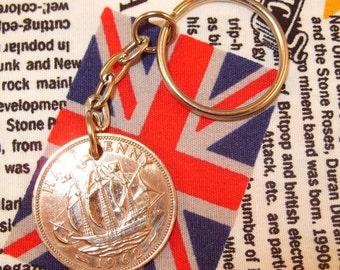 1962 Half Penny Old Half Penny English Coin Keyring Key Chain Fob Queen Elizabeth II