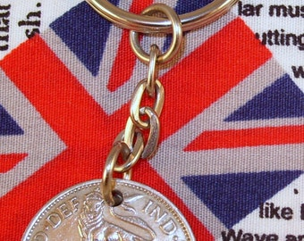 1948 Old English Shilling Coin Keyring Key Chain Fob King George VI