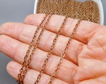 10 ft Antique Copper Chain - Oval link Chain - Tibetan Copper Findings - 3mm x 2mm- CH019