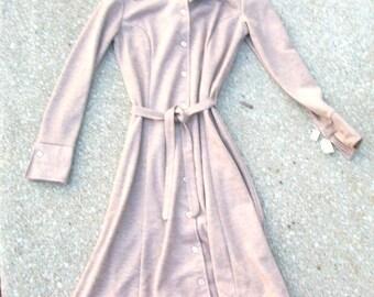Vintage Dress, Light Brown Dress, Tan Dress, Oatmeal Dress, Brown Dress, Vintage Brown Dress, Long Sleeve, Button Down Dress, Belted, NWT
