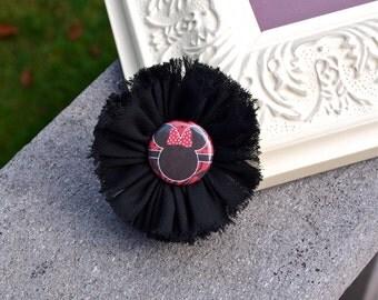 Minnie Mouse Shabby Flower Hair Clip