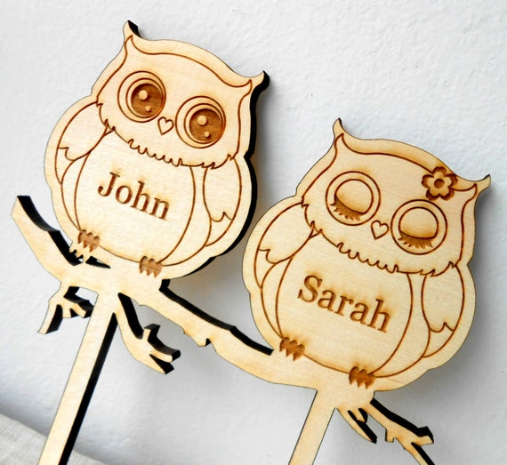 custom wooden wedding cake toppers owls wedding cake topper personalized wooden cake topper 13266