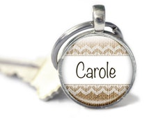 Personalised Keyring, Burlap Key chain, Custom Name Gift, Lace and Burlap Rustic style key charm, Your name Glass Keyring