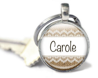 Personalised Keyring, Burlap Key chain, Custom Name Gift, Lace and Burlap style Your name Keyring