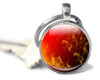 Flame Keyring, Red Keychain key charm, photo keyring,  Fire Element, fire sign Glass Key charm Orange Black, flame keyring, fire keychain,