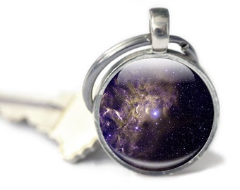 Space Keyring - Glass Galaxy Keyring - Glass keyring with space image