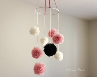 Nursery Mobiles, Flower Mobile, Hanging Pom Poms, Nursery Decor, Pom Pom, Mobile, Baby Mobile, Hanging Decor, Gifts Ideas, Custom Colors