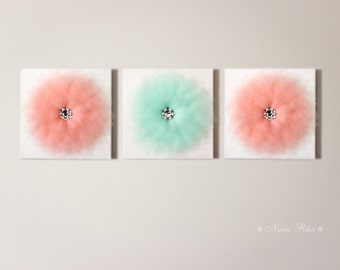 Blossom Mint Flower Wall Hanging Home Decoration Flower Wall Decor Home Decor Mint and Peach Flower Set of Three Flower Art