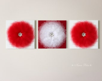 Red Flower Red Decor Home Decor Wall Art Wall Decoration Home Decor Red and White Wall Hanging Wall Flowers 12X12 Canvas Three Canvas Set
