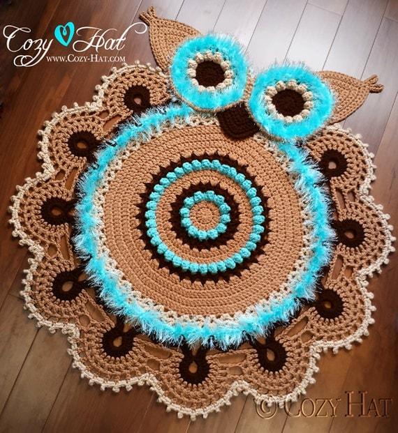Crochet Owl Rug Pattern: READY TO SHIP Owl Rug. Hand Crocheted. Sale
