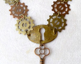 Steampunk Key Necklace Gears Keyhole Jewelry Gift Ideas Victorian steampunk industrial urban jewelry