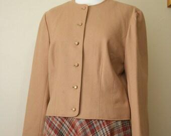Vintage 1970s Camel Wool Pendleton Cropped Jacket