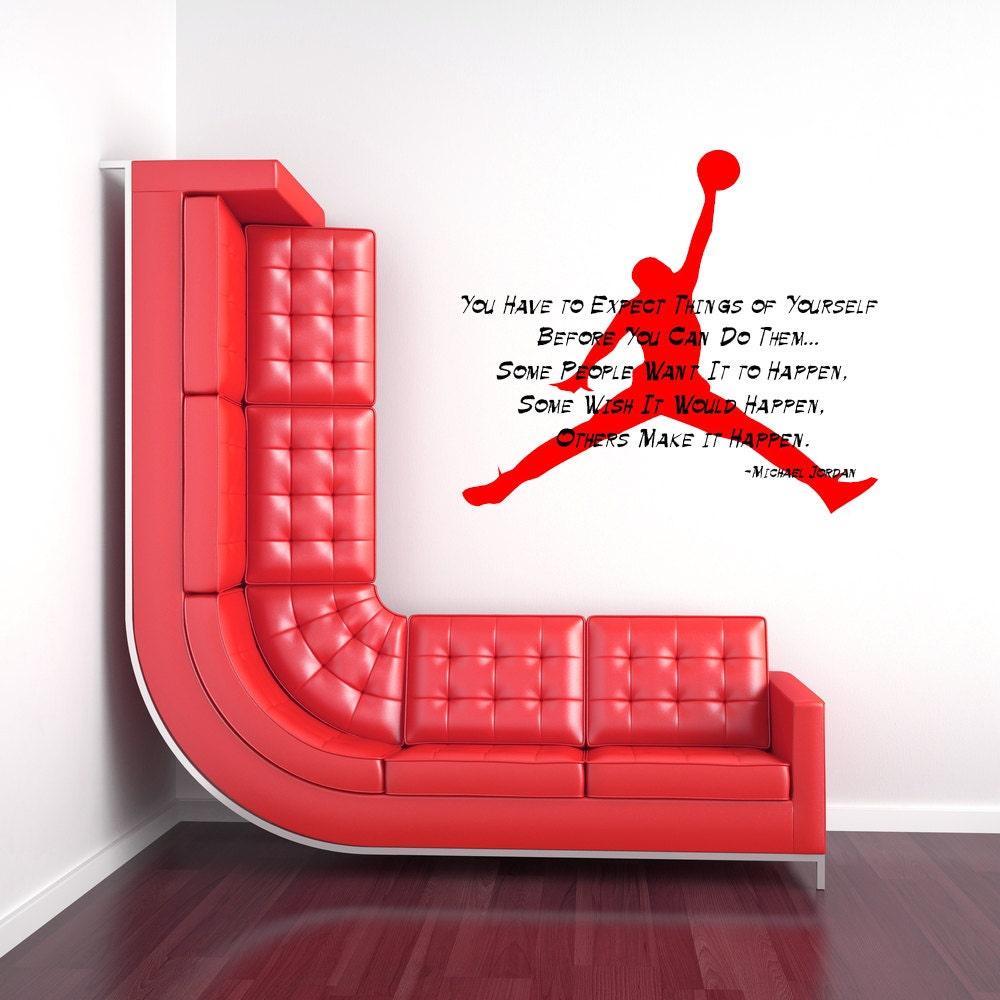 Michael jordan inspirational quote basketball decal - Michael jordan bedroom decor ...