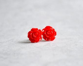 Red Tiny Rose Resin Flower Earrings - Rose 10mm resin rose flower nickel free earrings