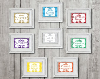 "4""x6"" Young Women Values, YW Values, Eight (8) Printable Digital Files"