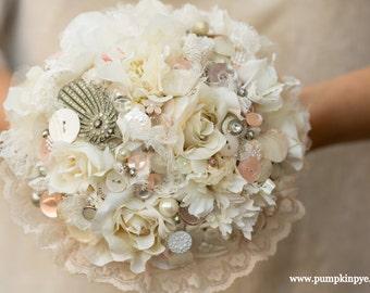 vintage  flower, lace and button bouquet