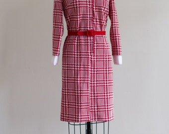 1970's Red Houndstooth Dress L