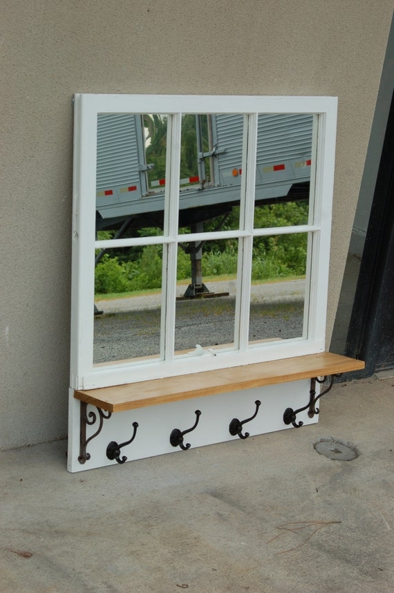 Antique window pane mirror with a pine shelf iron brackets Window pane mirror