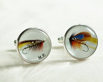 Fly Fishing Cuff links - Fisherman cuff links / Custom Silver Cufflinks  / Fishing accessories / Personal Gift for him