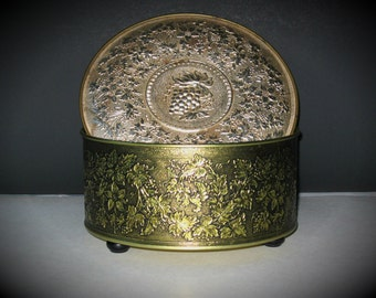 Vintage Guildcraft New York USA Gold Tone Round Cookie Tin/Sewing Box with Knob Feet
