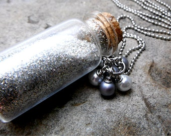 Silver Moon Dust Necklace, Moon Necklace, Potion Bottle Necklace, Mini Glass Bottle Necklace, Fantasy Necklace, Cork Bottle Necklace