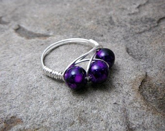 Dark Purple Ring, Cluster Ring, Wire Wrapped Ring, Purple Glass Ring, Purple Bead Ring, Wire Wrapped Jewelry Handmade