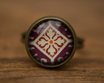 Purple Ring, Deep Purple, Adjustable Ring, Glass Dome Ring, Statement Ring, Moroccan, Tile, Middle Eastern