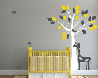 Nursery Jungle Tree with Birds and Giraffe, Vinyl Wall Art