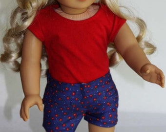 Short Shorts for American Girl and similar 18 inch dolls - Dark Blue & Red Floral with Welt Pockets