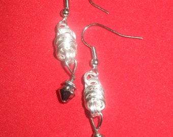 Silver Coil Drop Earrings with Mirror Crystals