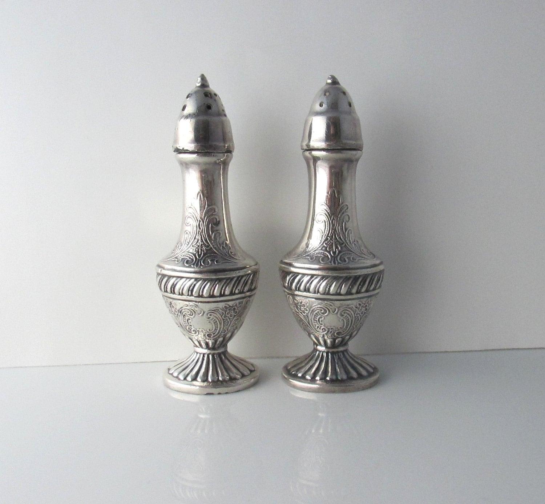 Ornate Footed Salt Pepper Shakers Viking Ep Lead Decorative