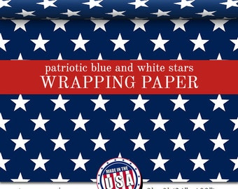 Custom Wrapping Paper Patriotic Blue With White Stars Pattern | Custom Wrapping Paper In Two Sizes Great For Any Occasion. Made In The USA
