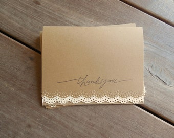 4 Lace Thank You Cards-Rustic Wedding Thank You Card-Lace Wedding Card-Lace Card Set-Rustic Thank You Cards-Kraft and Ivory Lace Cards