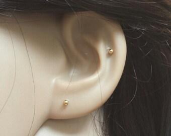 2mm gold ball earrings, simple stud earrings, children earrings, dainty earrings, cartilage earrings, baby earrings, minimalist, multiple