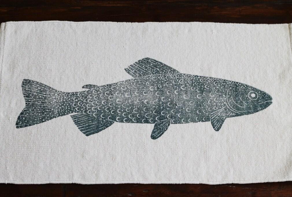 Bath rug bath mat rainbow trout fish cotton chenille rug for Fish bath mat