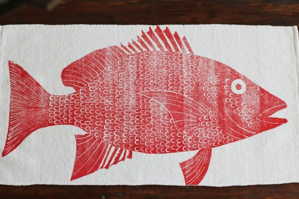 Bath rug bath mat red snapper fish cotton chenille rug for Fish bath rug