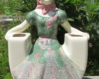 Weil Ware of California, Figurine Art Pottery Planter 4028,  Lady Vase
