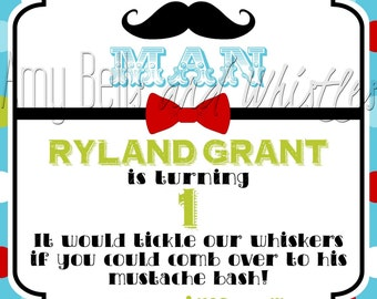 Little Man Mustache Bash Birthday Invitation - Digital File