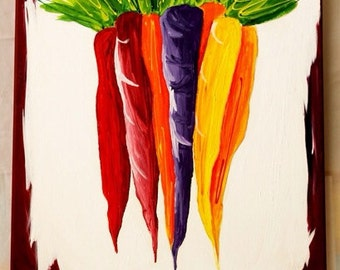 "heirloom carrots. [original acrylic] kitchen art. vibrant vegetable decor. 16"" x 20"". carrot painting. heirloom carrot painting."