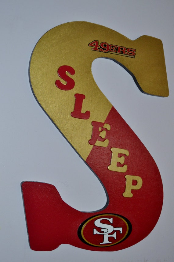 san francisco 49ers theme 18 inch wooden letter hangs on wall or your front door
