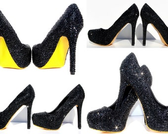 Black Crystal Heels with hand painted soles in the color of your choice